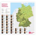 """Wandkarte """"Katholische Diaspora in Deutschland mit Bistumsinformationen"""""""