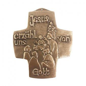 """Bronzekreuz """"Jesus, erzähl uns von Gott"""""""