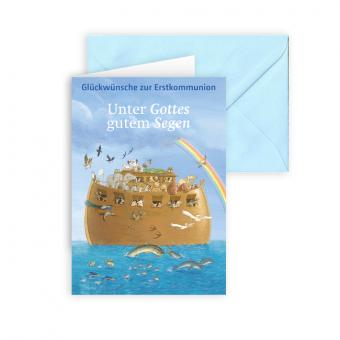 """Erstkommunionkarte """"Unter Gottes gutem Segen"""""""