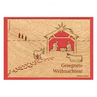 Weihnachtskarte: Holzpostkarte Krippe
