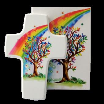 """Holzkreuz """"Baum/Regenbogen"""""""