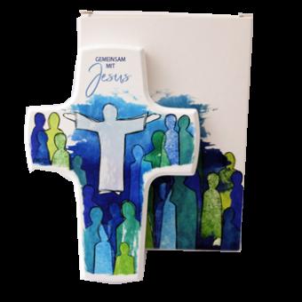 """Holzkreuz """"Gemeinsam mit Jesus"""""""
