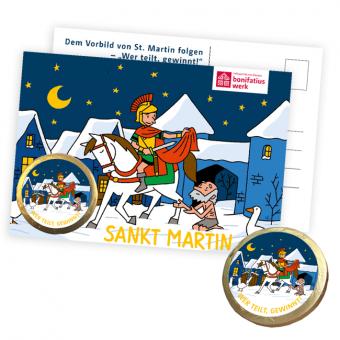Postkarte mit Schokoladentaler: Martinstaler 25er Pack