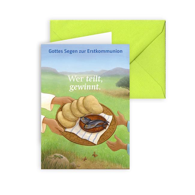 Erstkommunionkarte 'Wer teilt, gewinnt.'