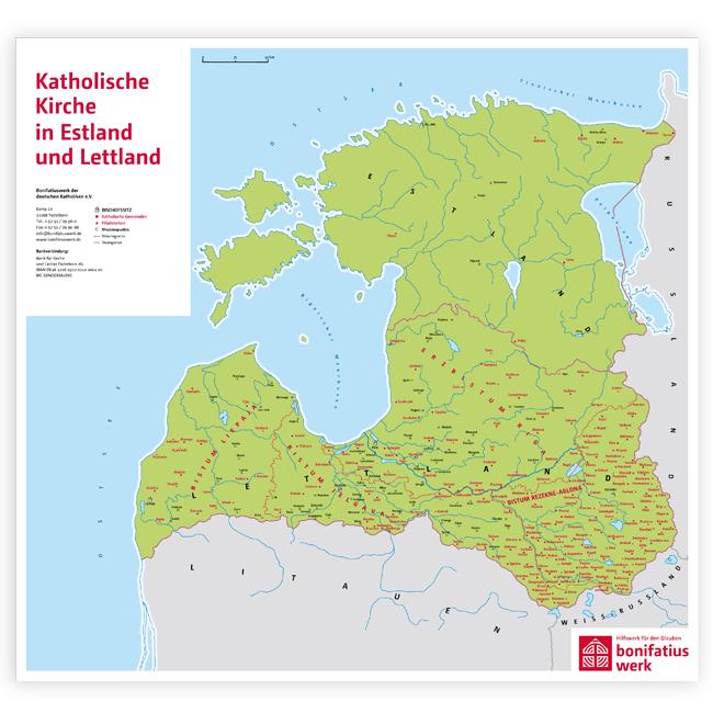 """Wandkarte """"Katholische Kirche in Estland und Lettland"""""""