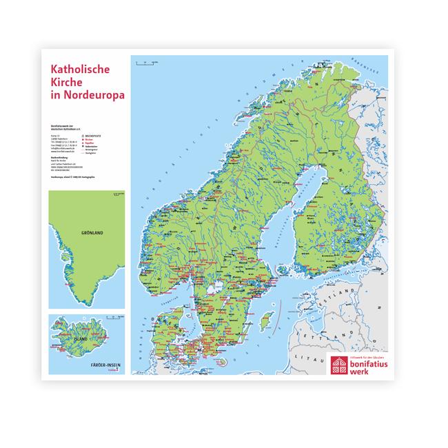 """Wandkarte """"Katholische Kirche in Nordeuropa"""""""