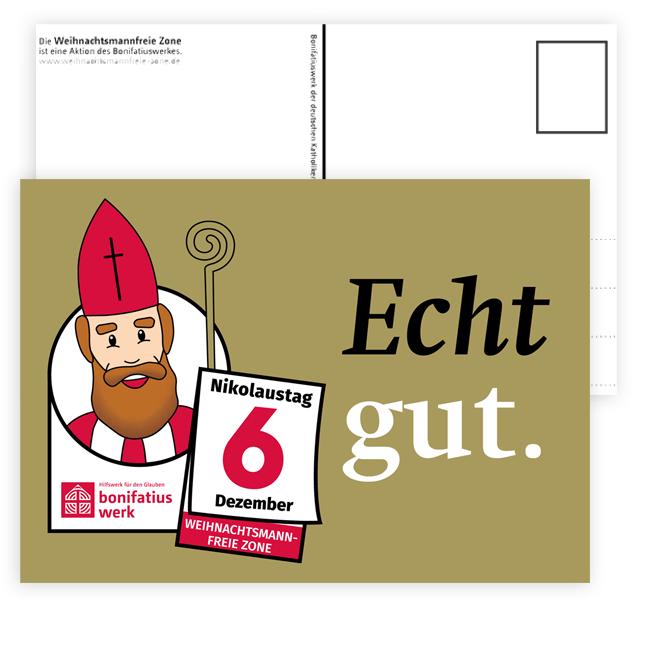 """Postkarte """"weihnachtsmannfreie Zone"""", 10 Karten"""